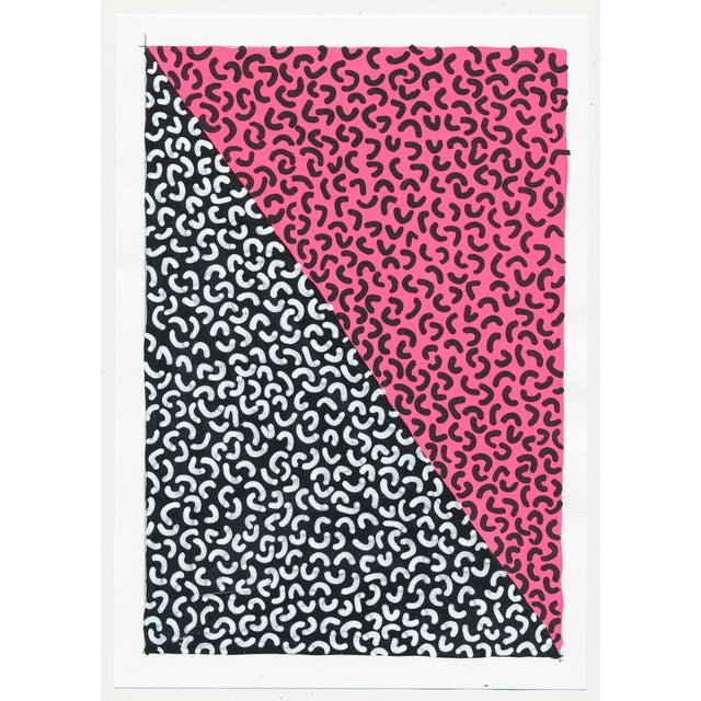 2010s Framed Contemporary Abstract Neon Pink Painting For Sale - Image 5 of 6