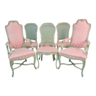 French Style Upholstered Pink and Green Wood Dining Chairs - Set of 6 For Sale