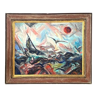 Large Vintage Oil on Canvas Signed Charles Melohs Seascape Nautical Scene Painting Framed For Sale