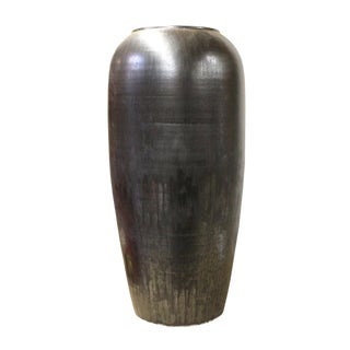 Ceramic Metallic Black Glaze Tall Slim Vase Jar cs2620 For Sale