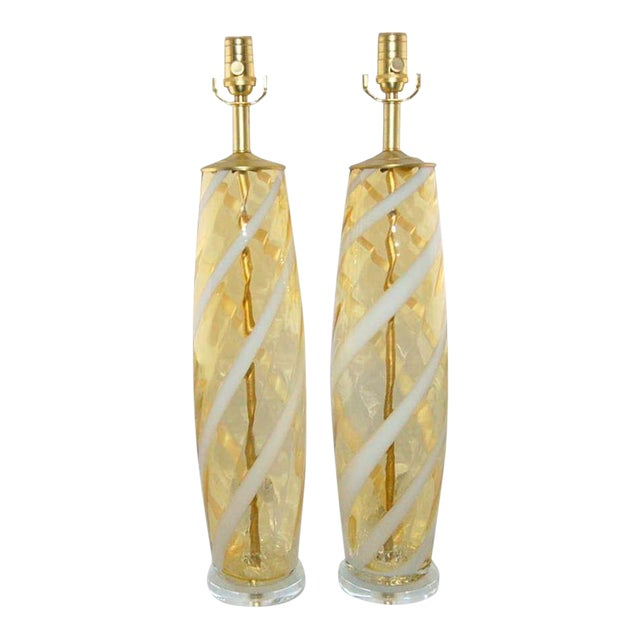 Vintage Venetian Glass Table Lamps Yellow For Sale