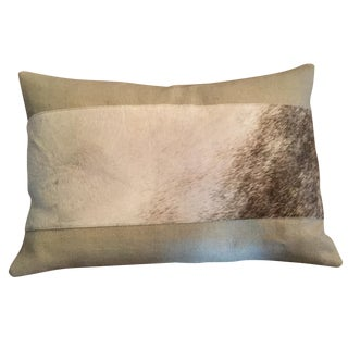 Hair on Cowhide With Beige Linen Pillow
