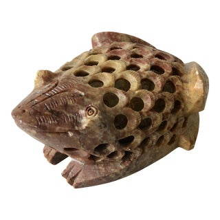Hand -Carved Stone Frog Paperweight For Sale