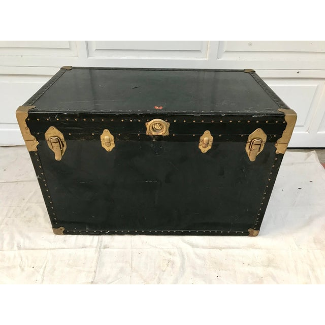Green Early 20th Century XL Antique American Trunk For Sale - Image 8 of 8