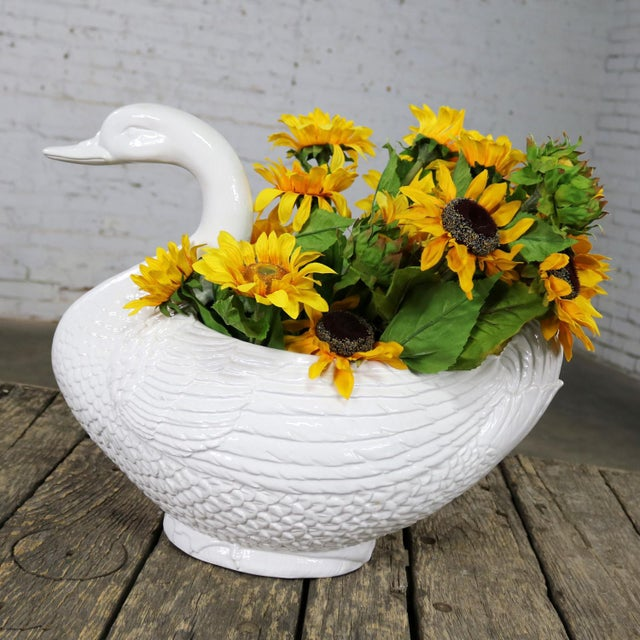 Large Pure White Porcelain Swan Jardinière Planter or Serving Tureen For Sale - Image 12 of 13