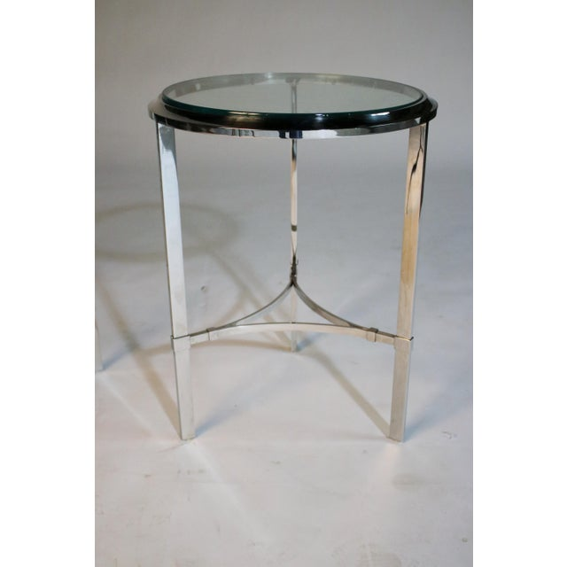 Glass Maison Jansen Style Steel Side Tables For Sale - Image 7 of 12