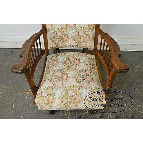 Late 19th Century Antique 19th Century Victorian Oak Platform Rocker For Sale - Image 5 of 13