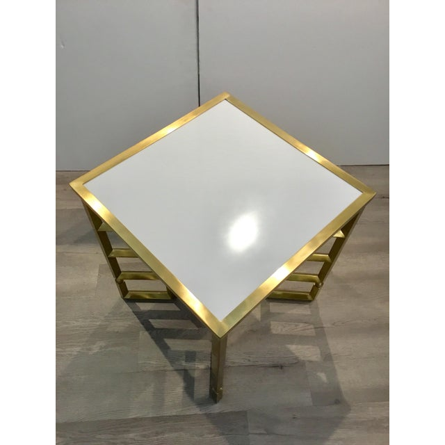 Global Views Global Views Modern White and Brass Beveled Leg Side Tables Pair For Sale - Image 4 of 7