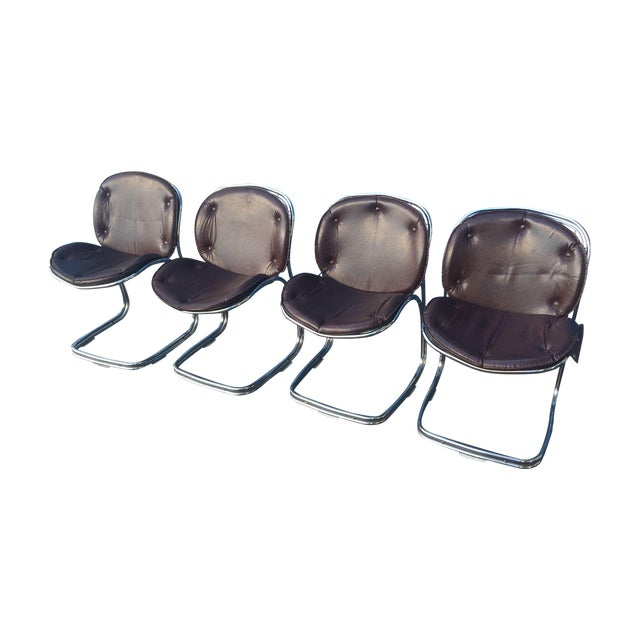 Mid-Century Brown and Chrome Office Chairs - 4 - Image 1 of 5