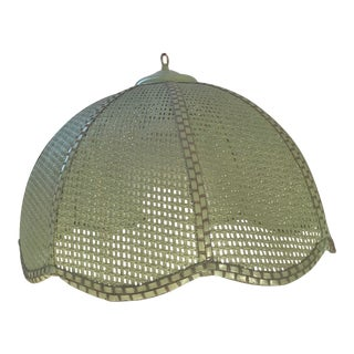 Vintage 1960s Mid-Century Modern Olive Green Wicker Swag Hanging Lamp For Sale