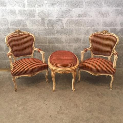 French Louis XVI Style Set Of 2 Chairs And Bed Bench/Ottoman   Image 7