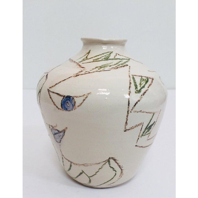 Abstract Postmodern Vase With Abstract Head Portraits Figures in Jean Cocteau Style For Sale - Image 3 of 11