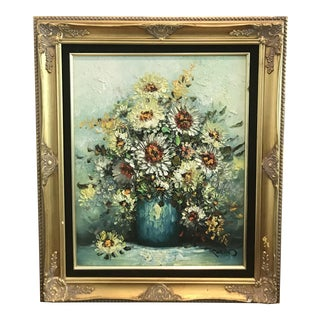 Vintage Oil Painting of Flower Still Life Ornately Framed, Signed