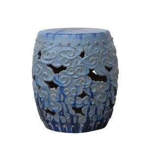 Ceramic Clay Light Blue Glaze Round Scroll Pattern Garden Stool For Sale
