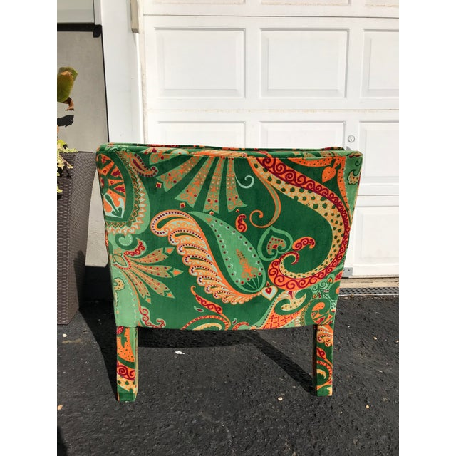 Hickory Furniture 1980s Vintage Velvet Paisley Parsons Chair For Sale - Image 4 of 11