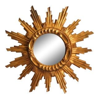 Mid Century French Giltwood Sunburst Mirror For Sale