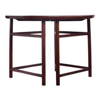 Antique Qing Dynasty Elmwood Demilune Tables from China, 19th Century - A Pair For Sale