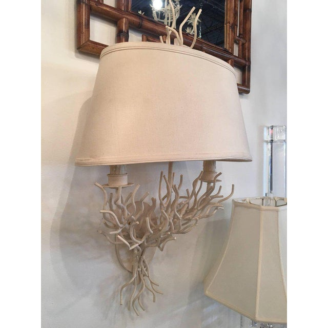 Palm Beach Metal Coral Wall Light Sconces - a Pair For Sale - Image 4 of 11
