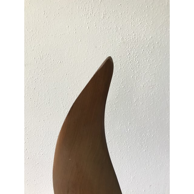 Mid Century Signed Wood Flame Sculpture For Sale In Portland, OR - Image 6 of 8