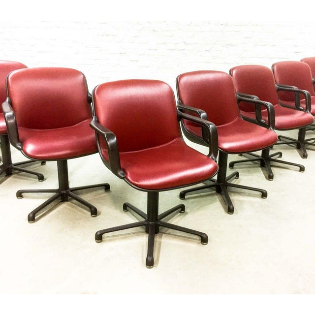 Charles Pollock Set of 8 Mid-Century Burgundy Red Leather Executive Chairs by Comforto For Sale - Image 4 of 11