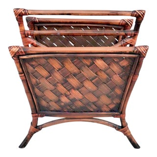 1970s Boho Chic Bamboo Magazine Rack For Sale