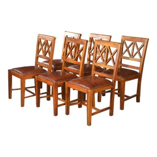 1930s Vintage Rustic Hardwood Dining Chairs- Set of 6 For Sale