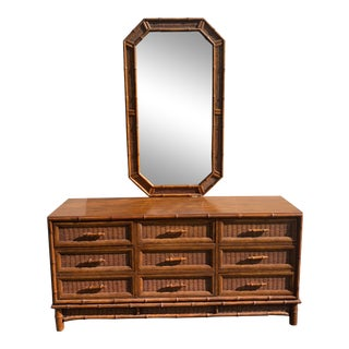 Mid-Century Faux Bamboo Dresser/Mirror by Americans of Martinsville For Sale