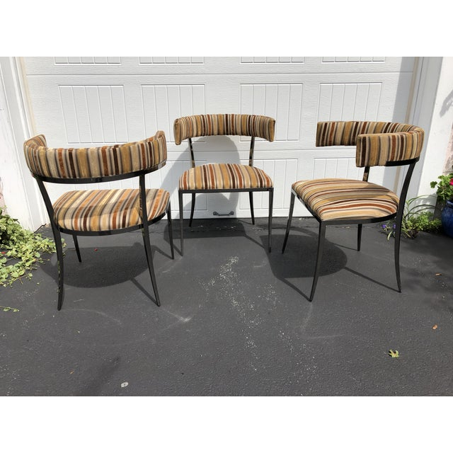 Contemporary Vintage Vanguard Furniture Black Nickle & Velvet Accent Chairs - Set of 3 For Sale - Image 3 of 8