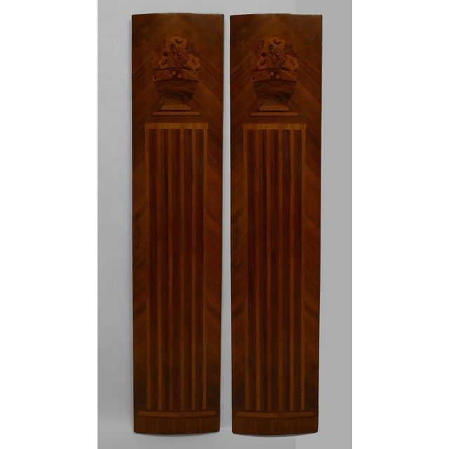 Pair of French Art Deco Kingwood Veneered Pilaster Panels For Sale - Image 4 of 4