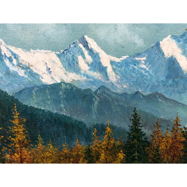 Mid 20th Century Mountain Landscape Oil Painting For Sale - Image 9 of 13