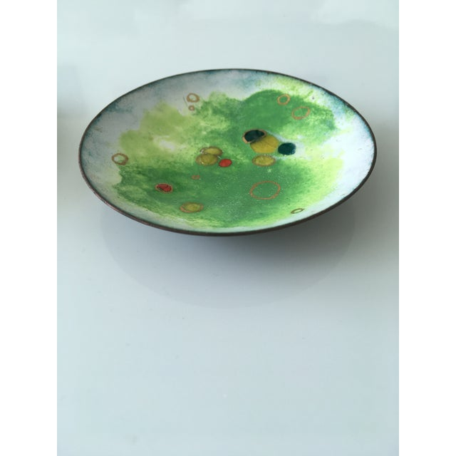 Vintage Green and Primary Color Enamel on Copper Dishes - Set of Four For Sale - Image 11 of 12