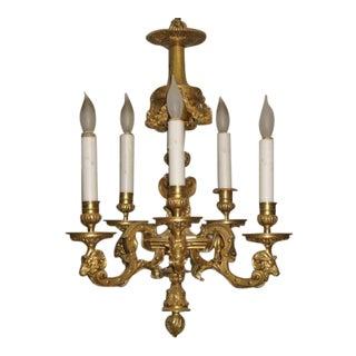 Louis XVI Style Doré Bronze Chandelier For Sale