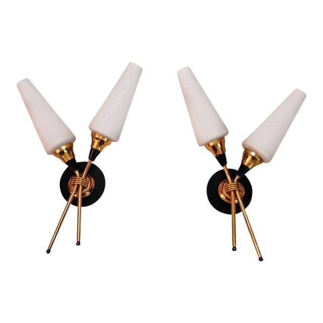 French Midcentury Sconces - a Pair For Sale