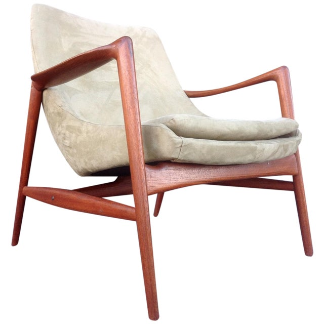 Danish Suede Lounge Chair - Image 1 of 7