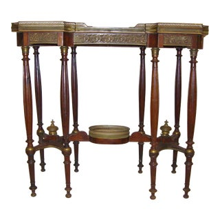 1860's French Louie XVI Bronze and Onyx Console Table For Sale