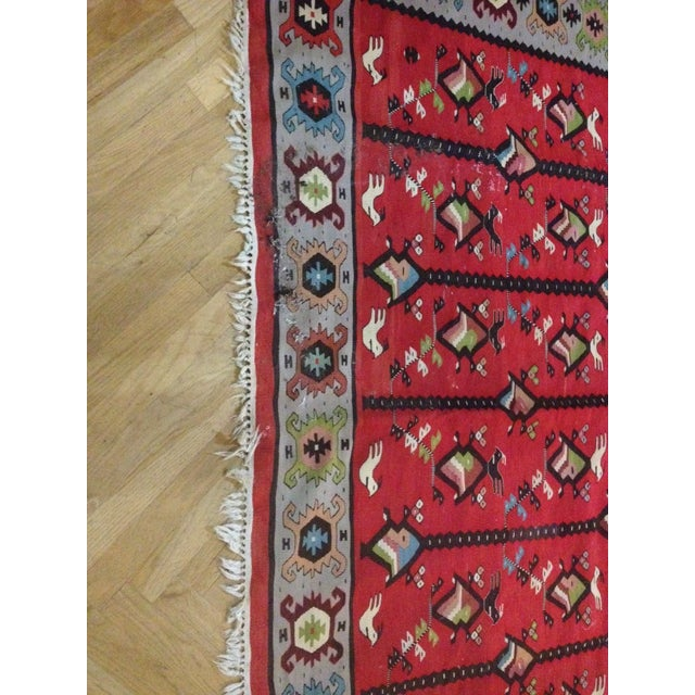Red Bird & Fish Area Rug - 10' x 6' For Sale - Image 4 of 4