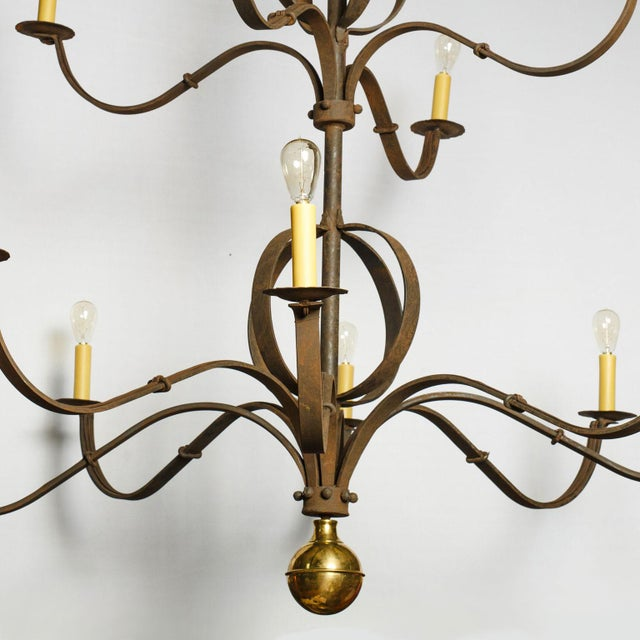 French Monumental Two-Tier Forged Iron Chandelier For Sale - Image 3 of 10