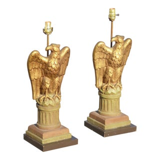 Vintage Federal Eagle Gold Table Lamps - a Pair For Sale