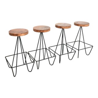 1970s Mid Century Modern Style Counter Height Barstools - Set of 4 For Sale