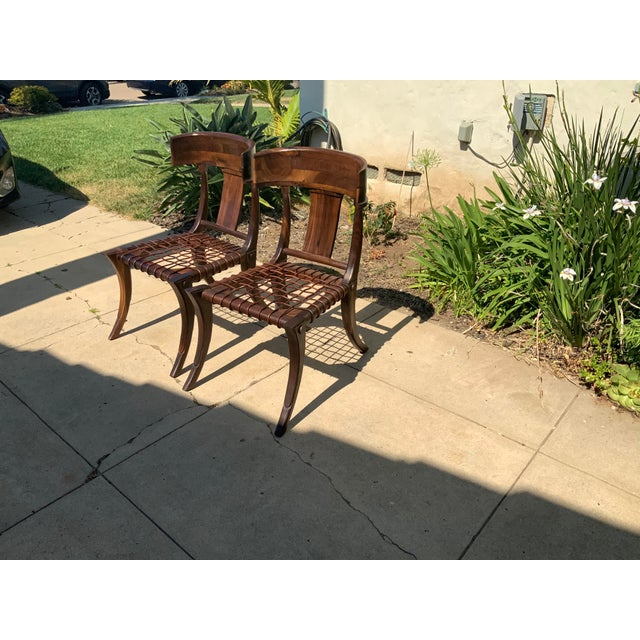 2000 - 2009 Klismos Walnut Chairs - a Pair For Sale - Image 5 of 10