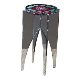 Organic Modern Signed Hand Made Acrylic Mandala Side Table For Sale