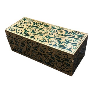 1960s Vintage Indian Gold & Green Decorative Wood Box For Sale