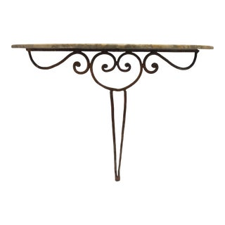 20th Century Shabby Chic Marble Top Demi Lune Table With Iron Base For Sale