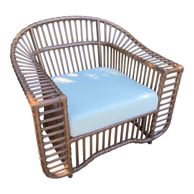 Henry Olko Style Rattan Club Chair For Sale