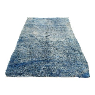 Moroccan Blue Sun Bleached Rug- 5' x 8' For Sale