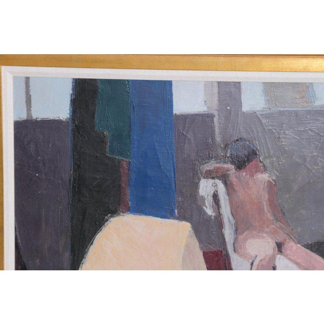 Canvas A Contemporary Oil on Canvas of a Nude in an Interior Seated on a Chair For Sale - Image 7 of 13