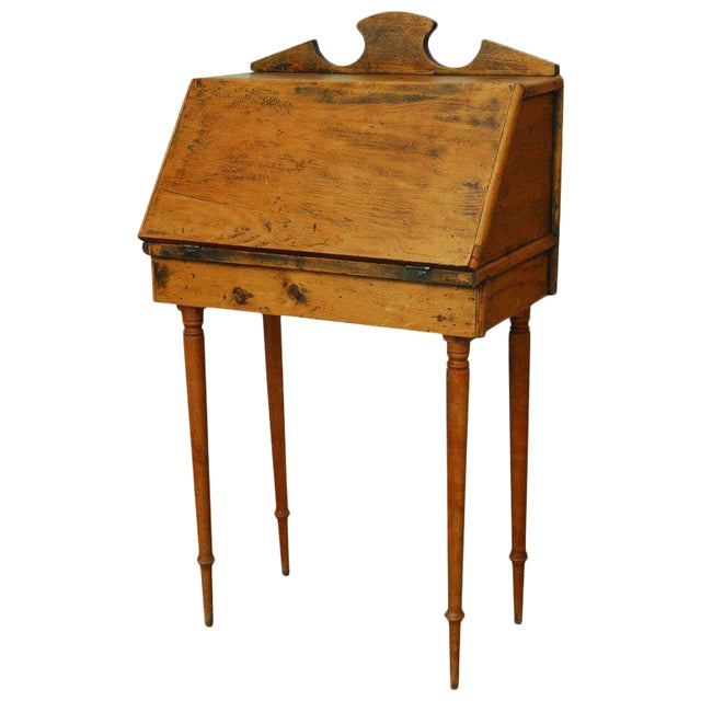 19th Century Diminutive Pine Slant Front Desk For Sale