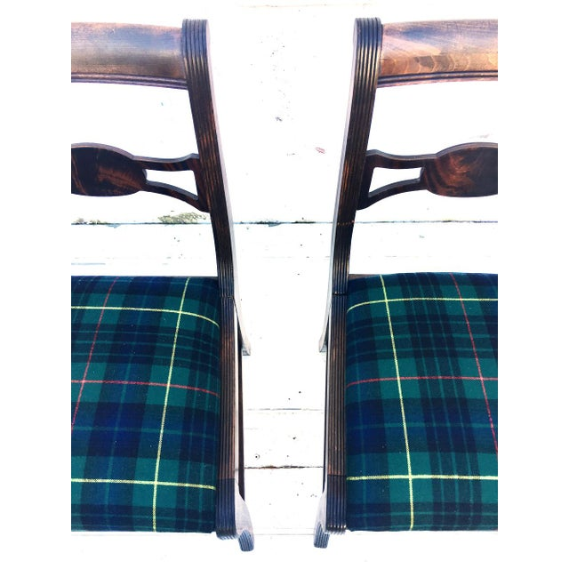 Rustic Farmhouse Antique Dining Chairs With Wool Plaid Seats- Set of 4 For Sale - Image 4 of 4