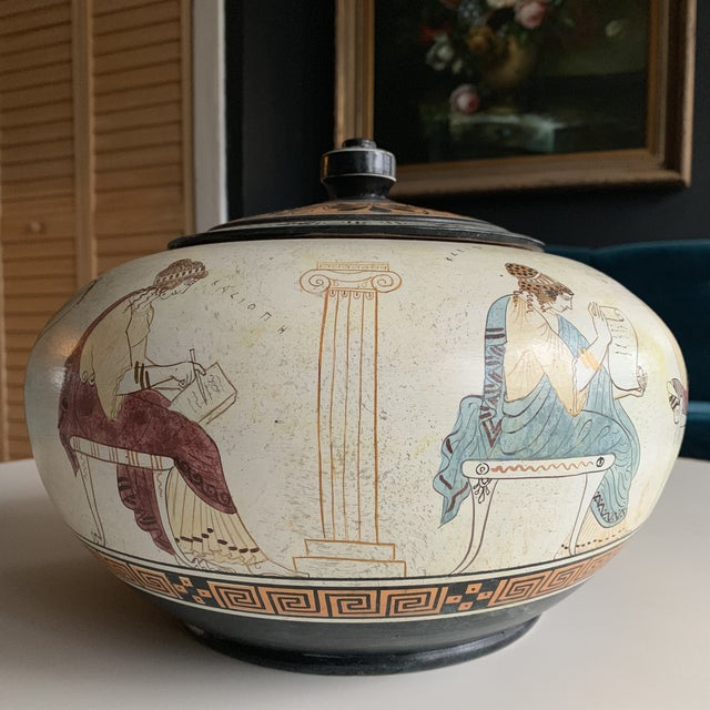 Greek Handmade Lidded Vase With 9 Muses For Sale In Chicago - Image 6 of 9