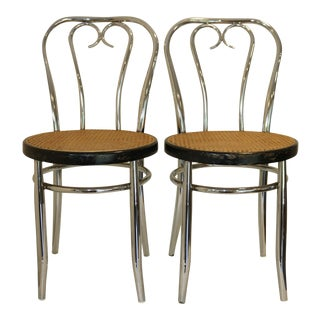 Vintage Chrome Bentwood Style Thonet Parlor Chairs- A Pair For Sale